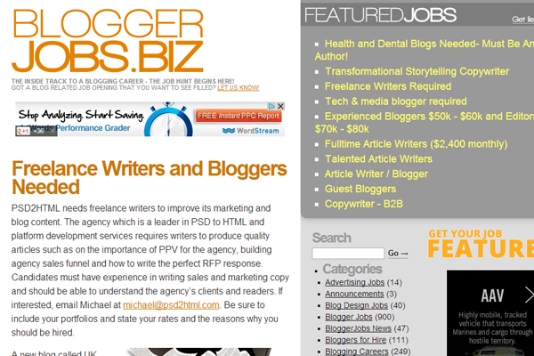 blogger jobs biz website freelancers