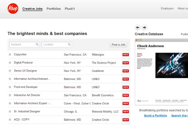 krop creative website job board design