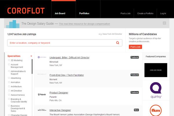 coroflot job board design layout