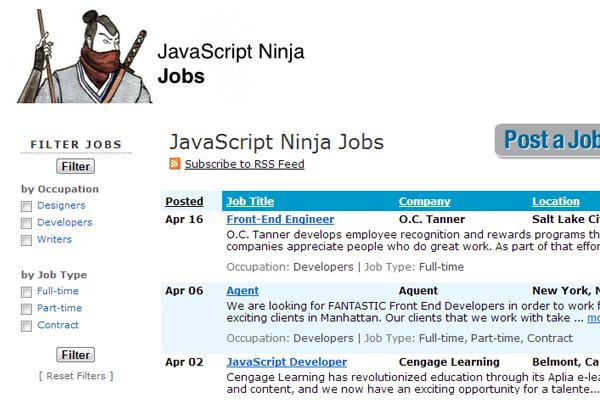 javascript js ninja jobs board