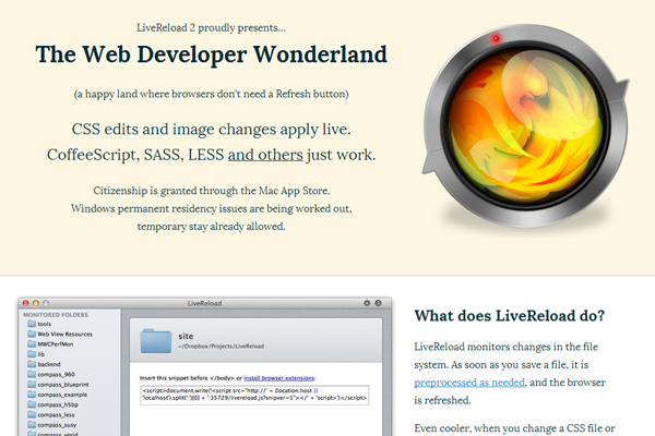 mac os x app website layout livereload