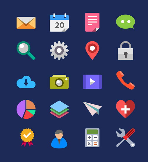 20 Flat Icons Vector PSD
