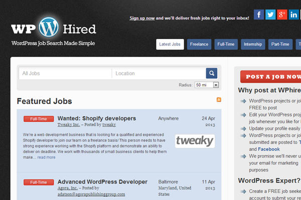 wordpress hired website layout job board