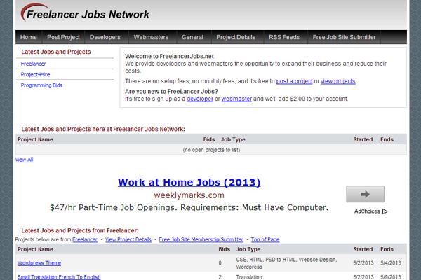 freelance jobs board interface website