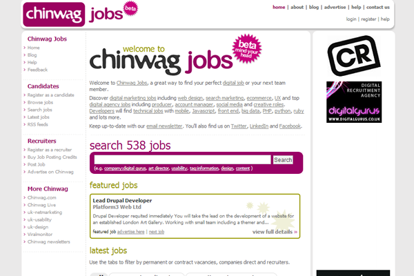 chinwag jobs board interface design