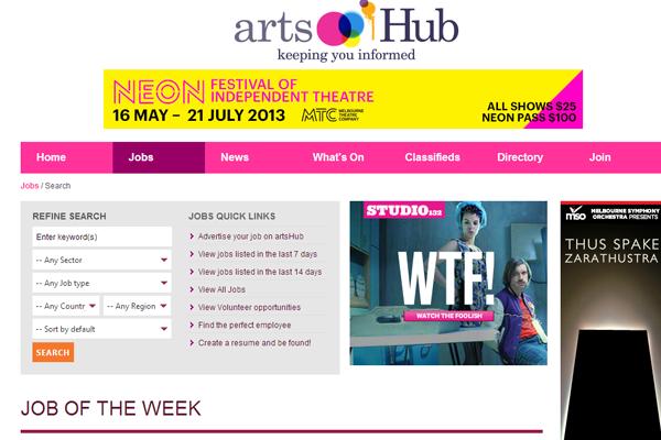 arts hub jobs board interface designs
