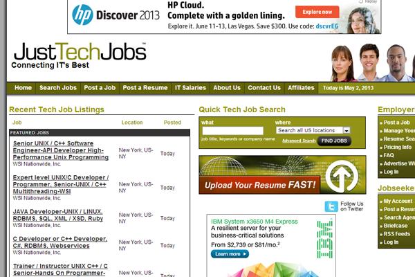 just tech jobs website design inspiration