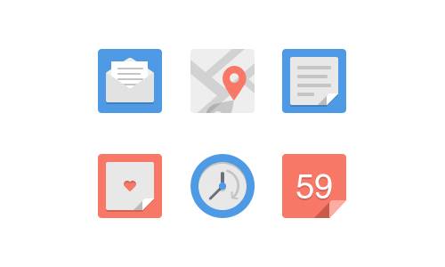 Simple flat icons Set