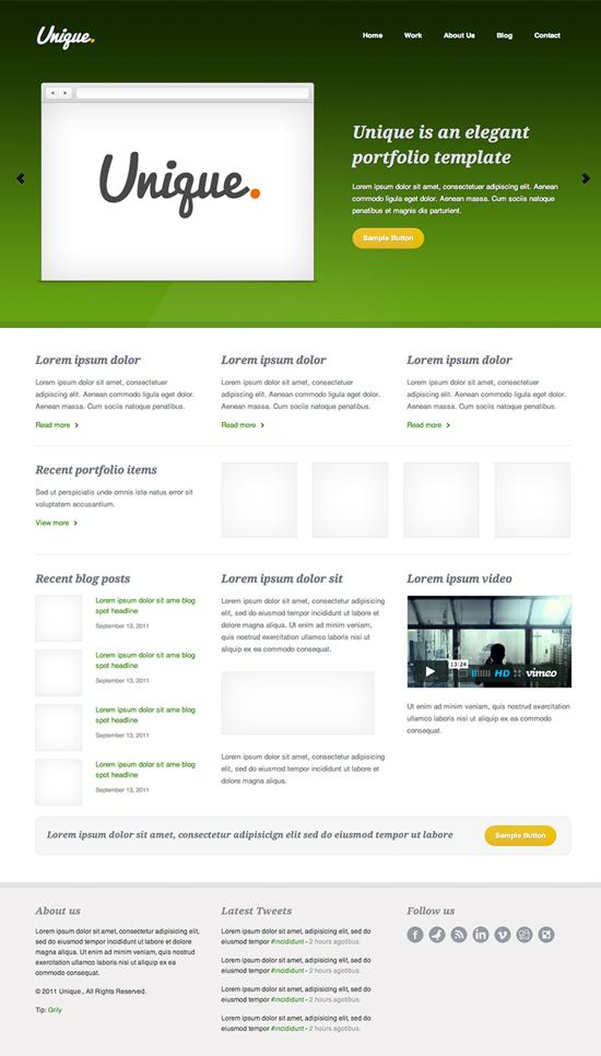 Unique html template