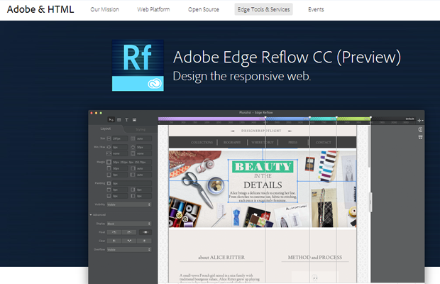 adobe edge reflow website software tools