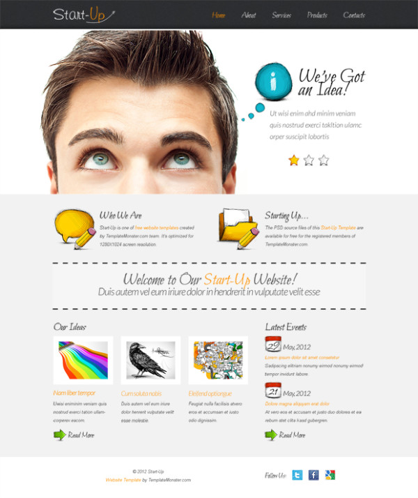 1. website psd template