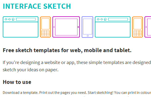 smartphone tablet computer sketches responsive templates
