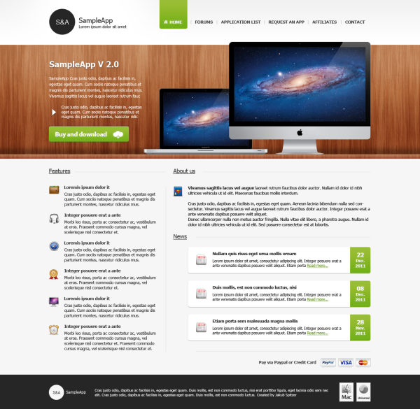 5. website psd template