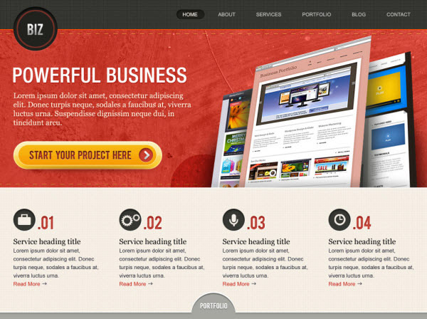 6. website psd template