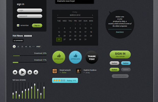 dark futurico html css user interface kit