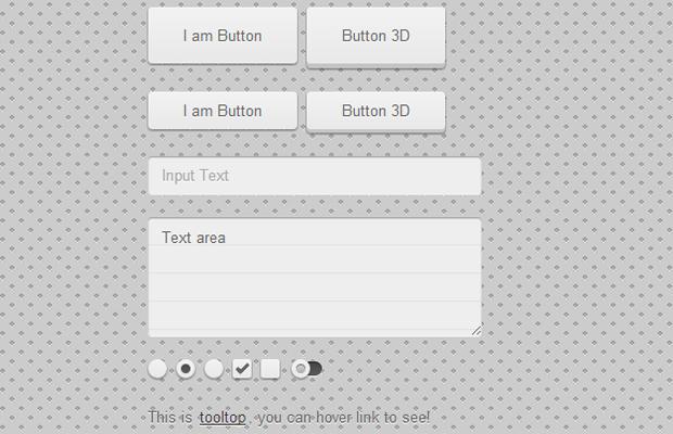 light grey css3 user interface kit html5