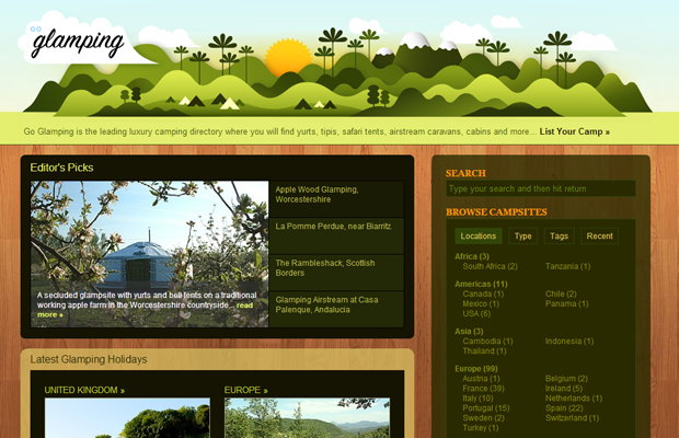 goglamping luxury camping green trees forest website