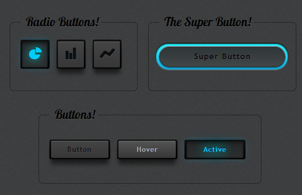 dark blue user interface kit buttons codepen open source