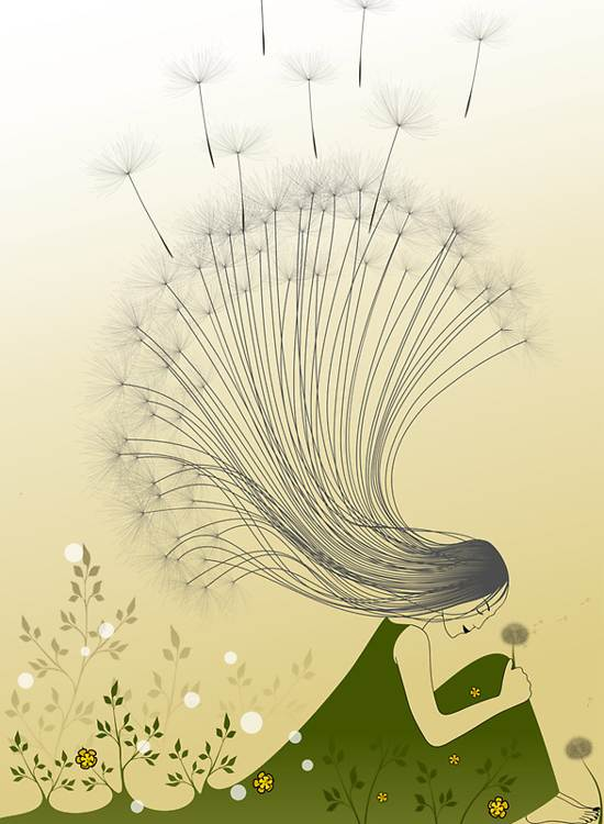 girl with dandelion hair poster design