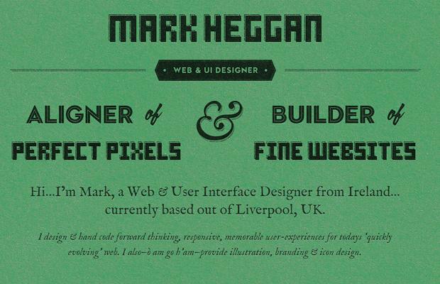 mark heggan website green layout design