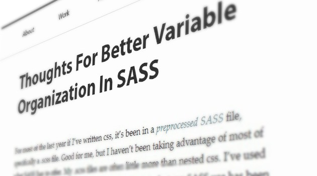 Thoughts For Better Variable Organization In SASS