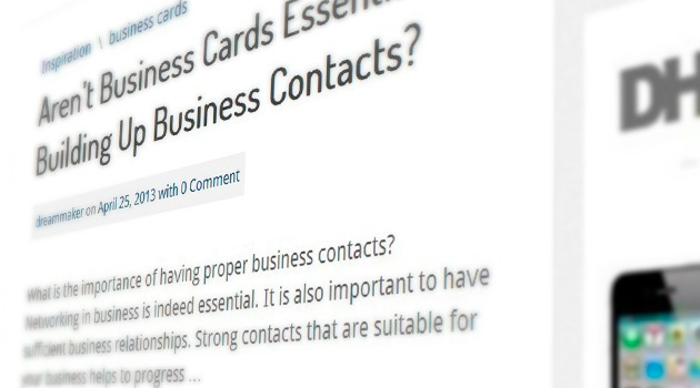 Aren't Business Cards Essential in Building Up Business Contacts?