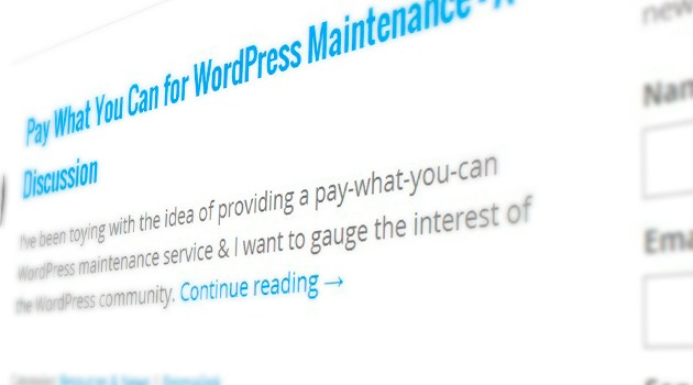 Pay What You Can for WordPress Maintenance – A Discussion