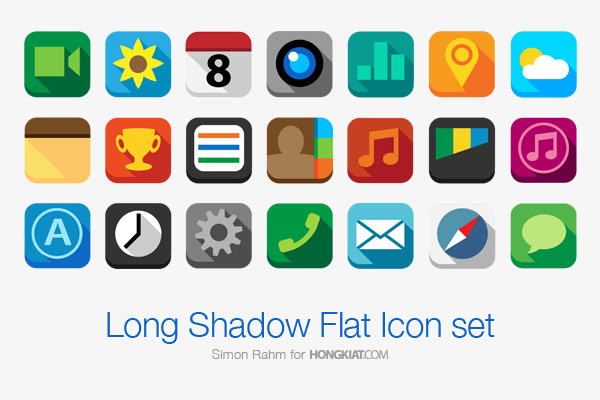 Long Shadow Flat Icon Set by Simon Rahm