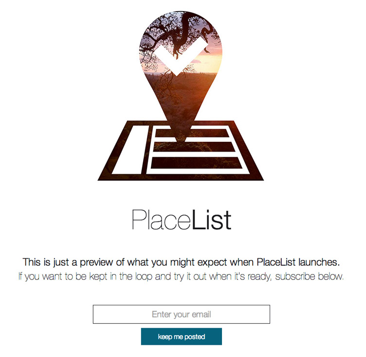 PlaceList - Beatifully designed coming soon page