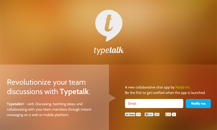 Typetalk - Beatifully designed coming soon page