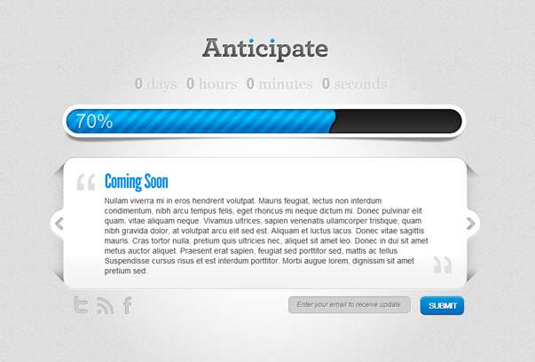 Sample Coming Soon PAge for WordPress