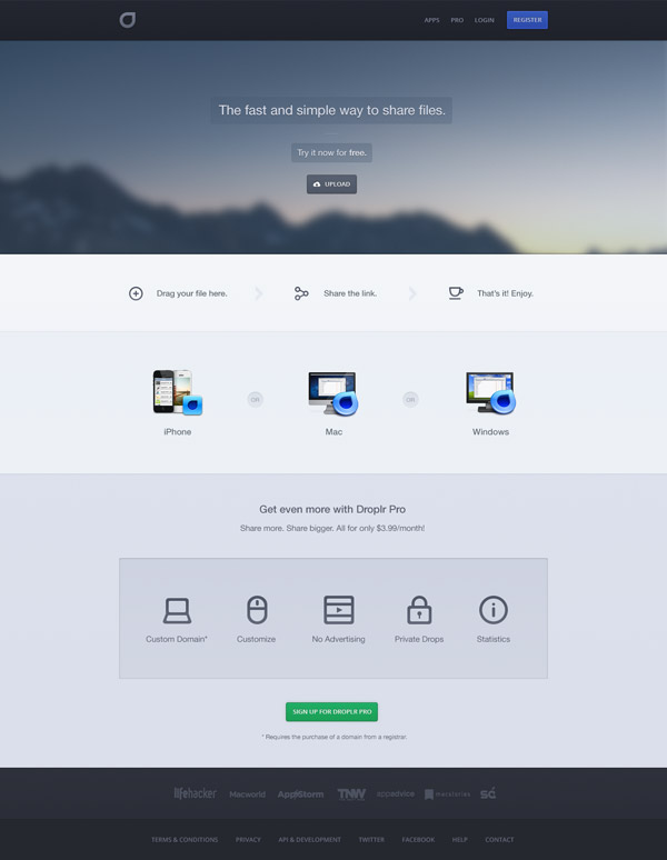 Droplr Redesign by Ben Bate