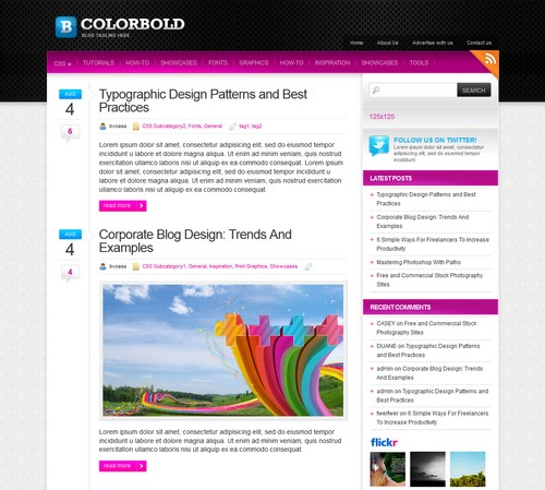 Color Cold Clean Free Blog Theme