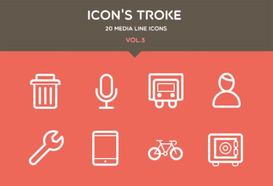Flat Stroke Line Icons Set Vol3