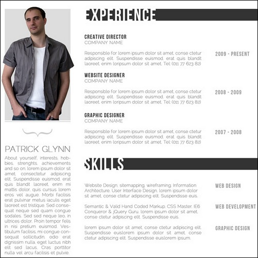 free creative professional photoshop cv template