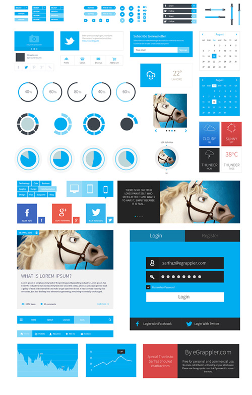 Metro Style Free Flat User Interface Kit (PSD)