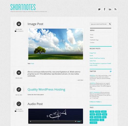 Shortnotes WordPress Template