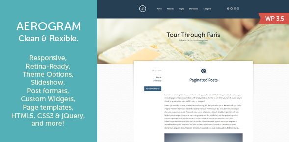 aerona retina responsive wordpress theme