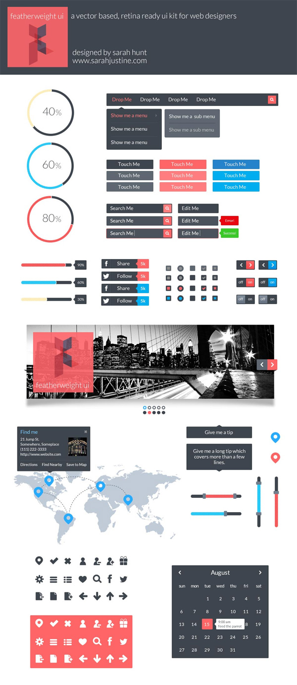 Featherweight UI – A free, vector based and retina ready UI kit for web designers