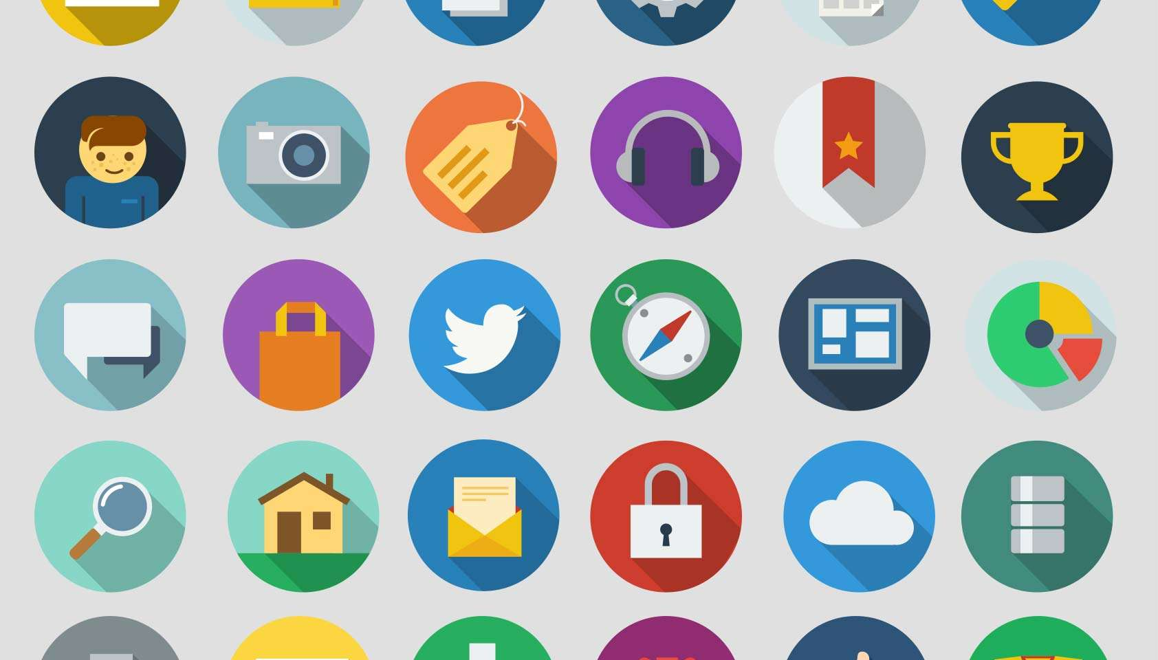 Free Long Shadow Flat Icons
