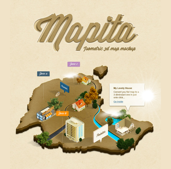 New free website graphics: 3D Isometric Map Mockup