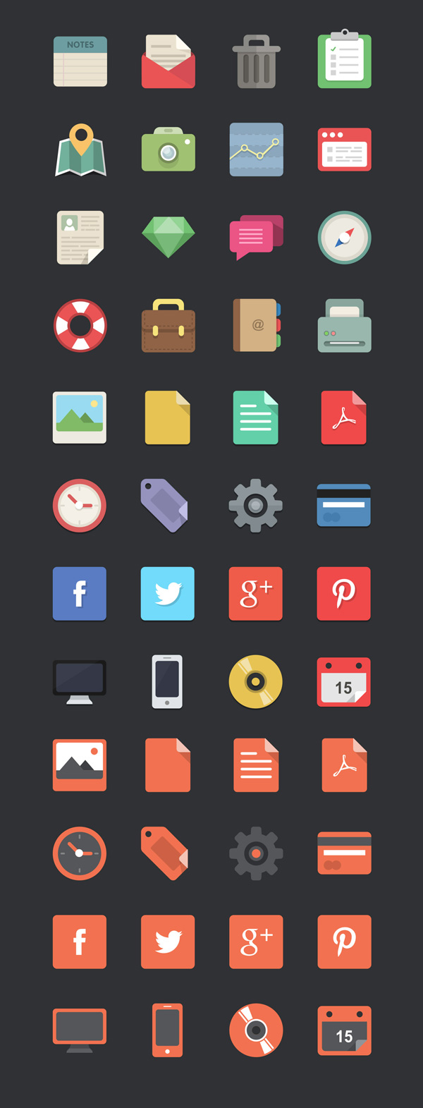 New free website graphics: Free Download: 48 Flat Designer Icons