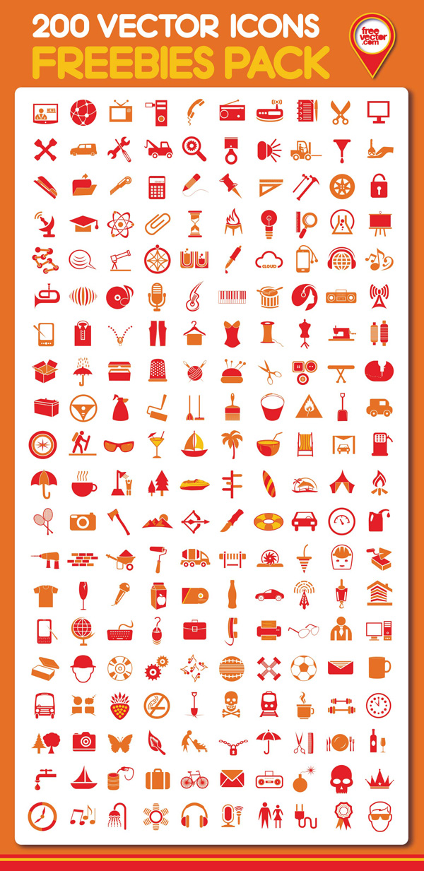 New free website graphics: Free Download: 200 Vector Icons