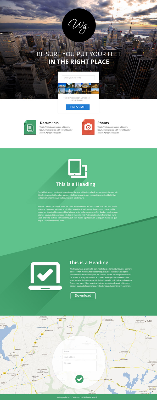 New free website graphics: Single Page Website Template PSD