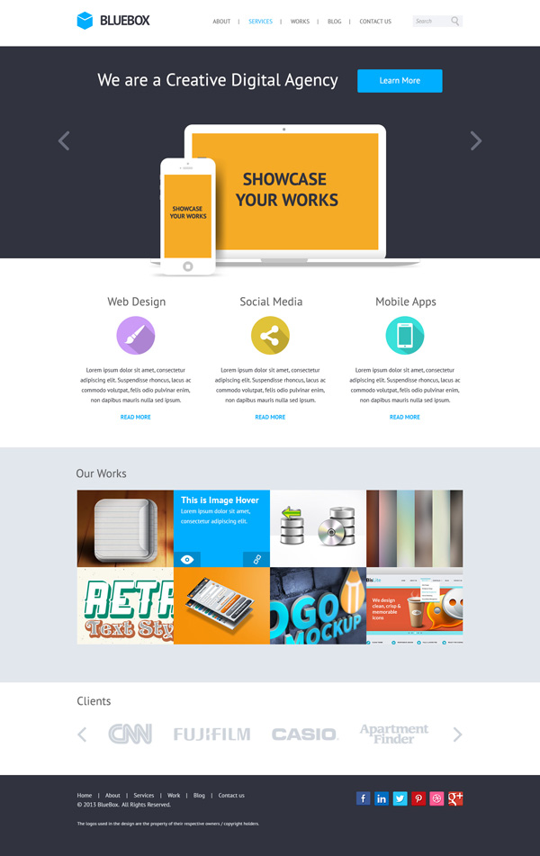 New free website graphics: BlueBox: Flat Website PSD Templates Design
