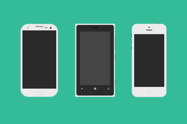 New free website graphics: Flat Mobile Phones