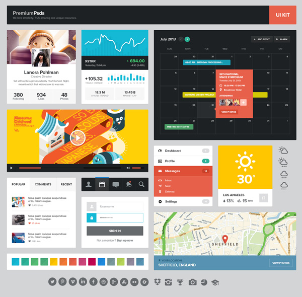 New free website graphics: UI Kit - 1 PSD Set (FREE)