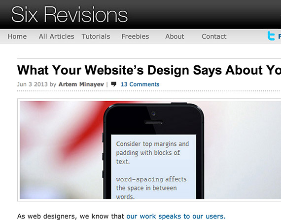 Sixrevisions web design blog top blogs follow