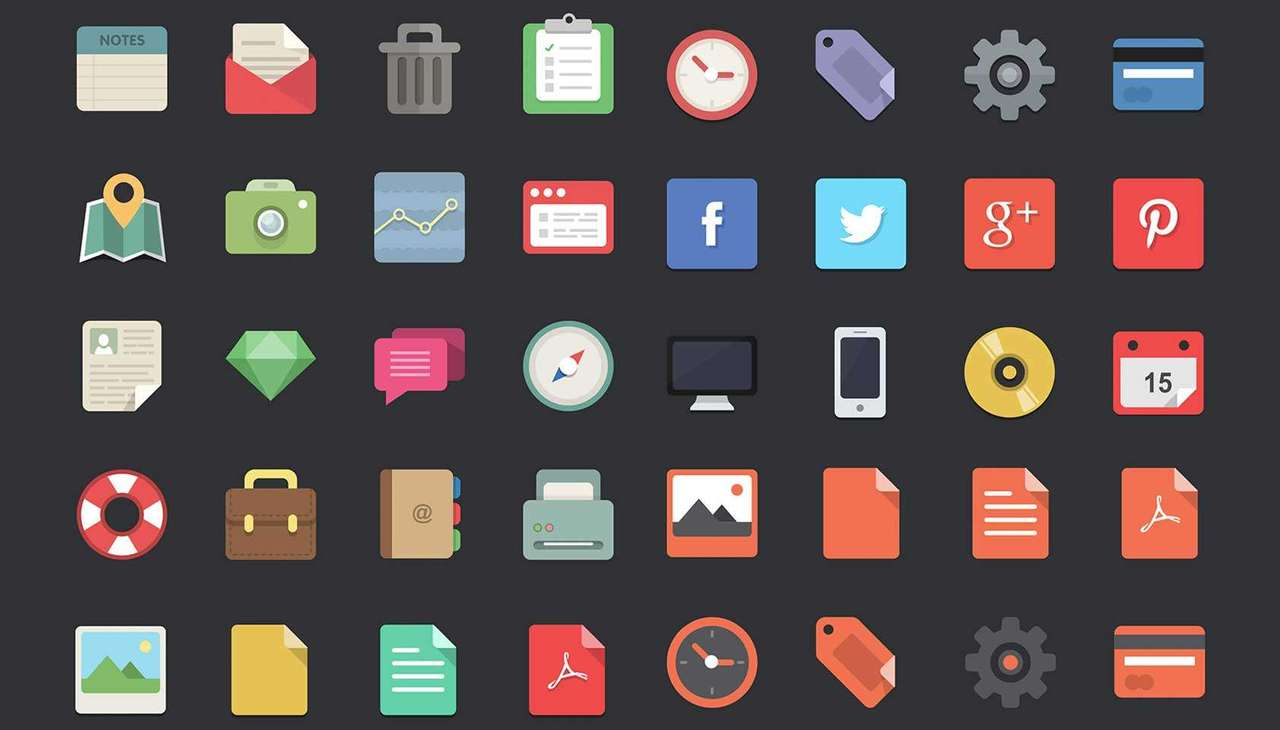 Free download: 48 flat designer icons