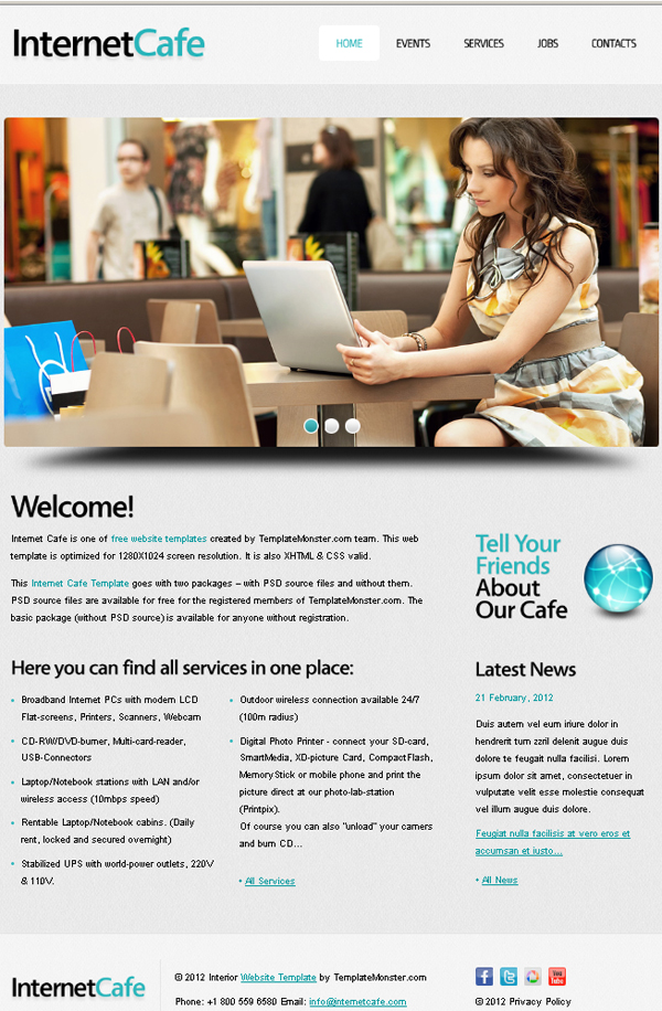 Free Website Template with jQuery Slider for Internet Cafe